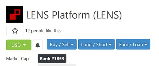 lens platform token on coingecko